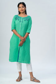 Maybell-Floral embroidered kurta -Green-3