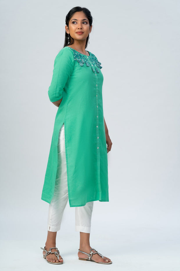 Maybell-Floral embroidered kurta -Green-5