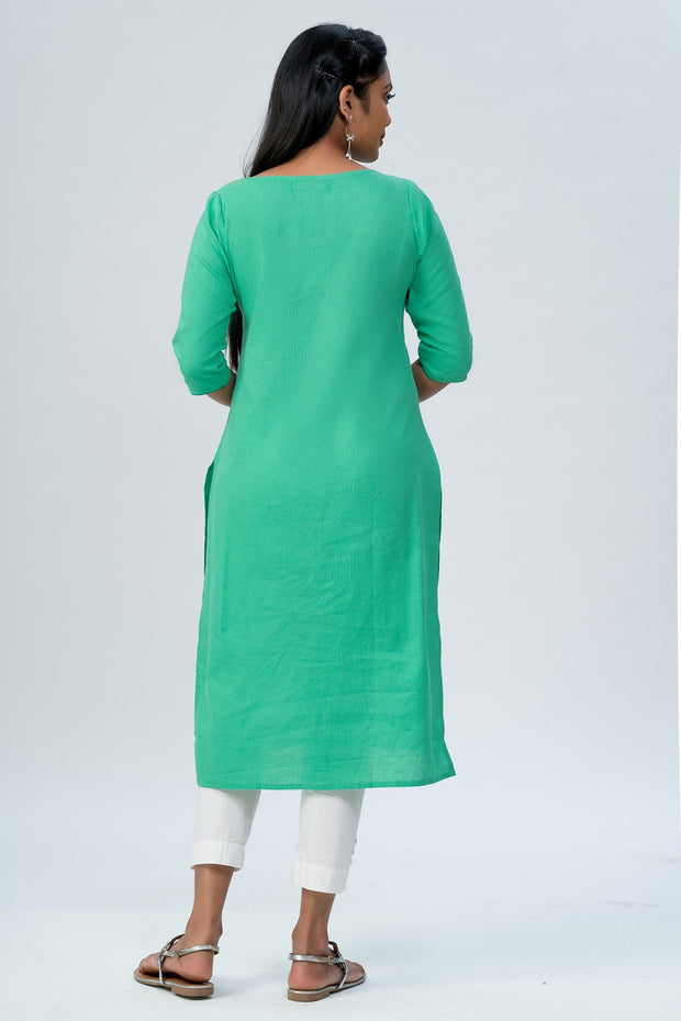 Maybell-Floral embroidered kurta -Green6