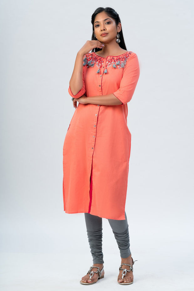 Maybell Floral embroidered kurta - Peach1