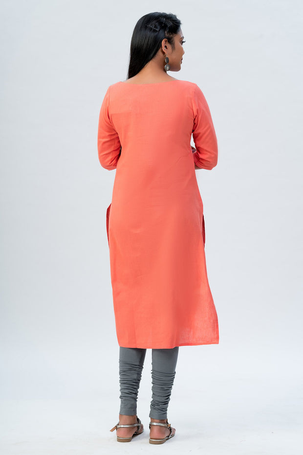 Maybell Floral embroidered kurta - Peach4