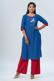 Maybell-Japanese crane embroidered kurta - Blue-6