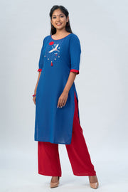 Maybell-Japanese crane embroidered kurta - Blue-5