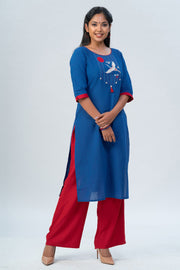 Maybell-Japanese crane embroidered kurta - Blue-1