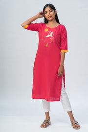 Maybell-Japanese crane embroidered kurta - Pink