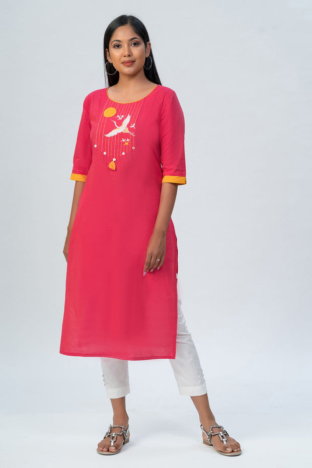 Maybell-Japanese crane embroidered kurta - Pink-1
