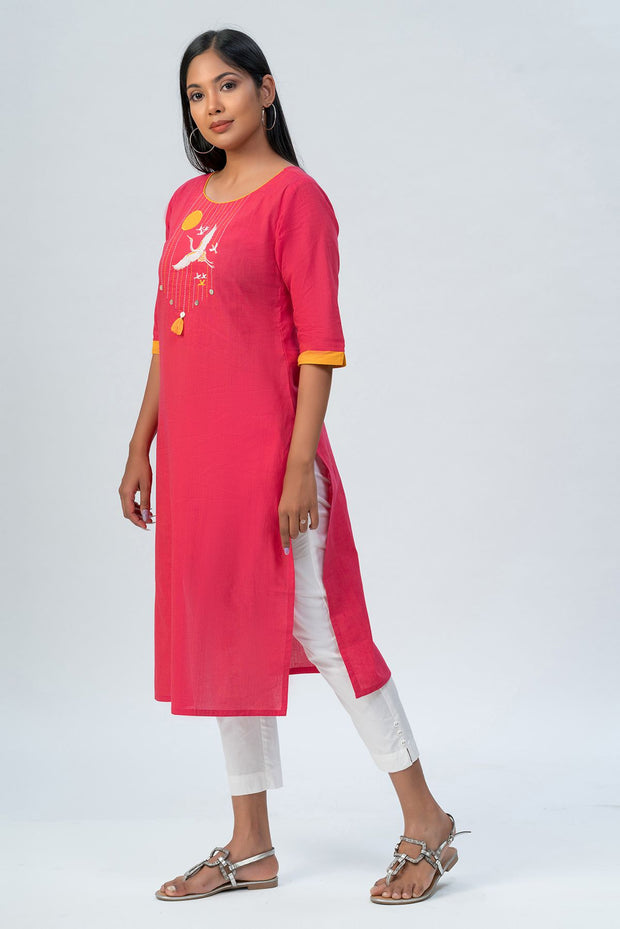Maybell-Japanese crane embroidered kurta - Pink-3