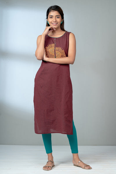 Abstract Sun Printed Kurta - Maroon