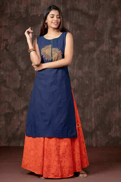 Abstract Sun Printed Kurta - Navy Blue