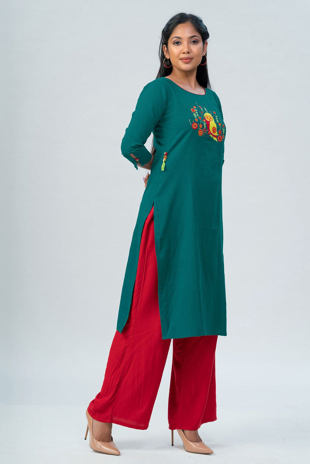 Maybell Owl embroidered kurta- Green3