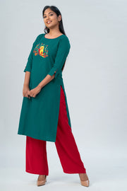 Maybell Owl embroidered kurta- Green1