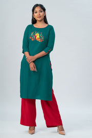 Maybell Owl embroidered kurta- Green2