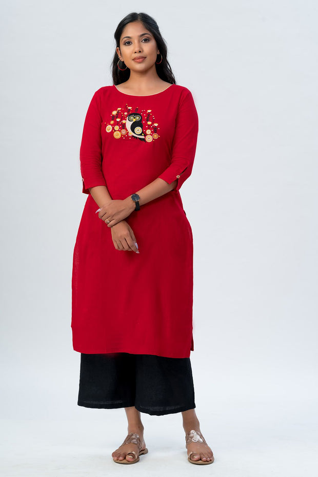 Maybell Owl embroidered kurta- Red1