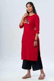 Maybell Owl embroidered kurta- Red3