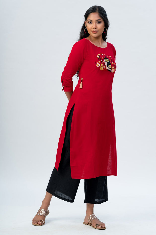 Maybell Owl embroidered kurta- Red4