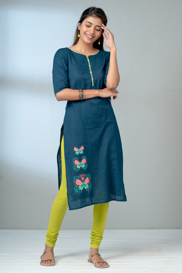 Butterfly Placement Printed Kurta - Navy