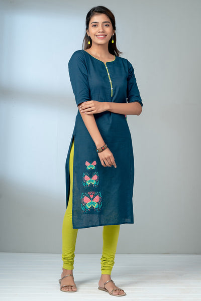 Butterfly Placement Printed Kurta - Navy-1