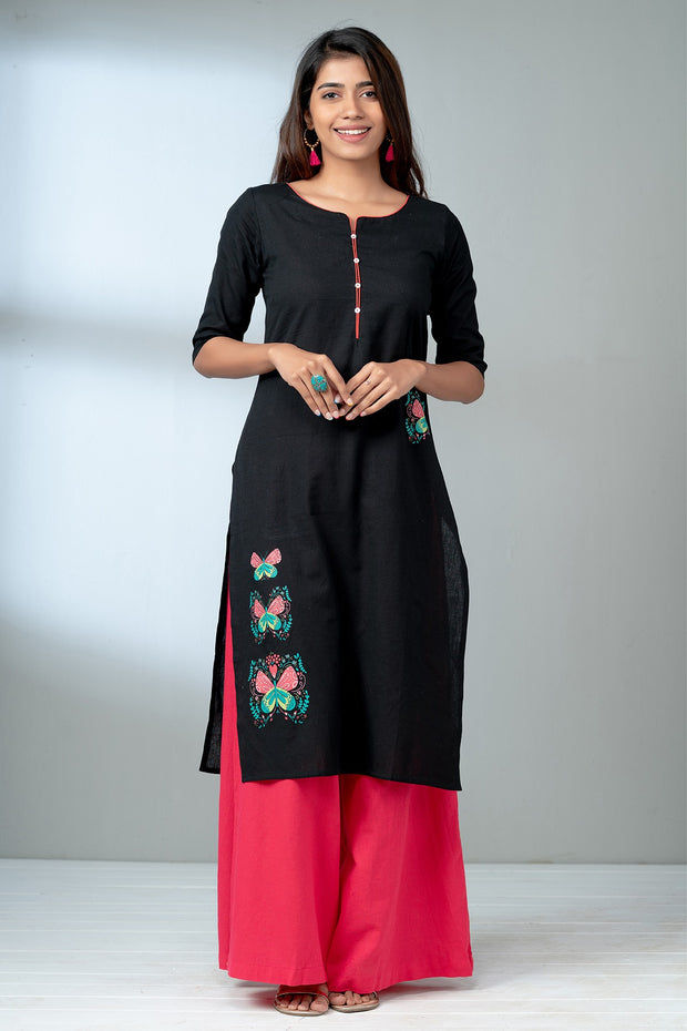 Butterfly Placement Printed Kurta - Black