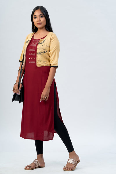 Maybell-Chinese boat printed kurta with overcoat-Red5