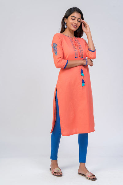 Maybell-Floral embroidered kurta - Pink3