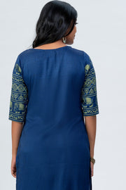 Maybell Elephant printed kurta -Blue5