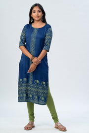 Maybell Elephant printed kurta -Blue1
