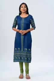 Maybell Elephant printed kurta -Blue2