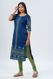 Maybell Elephant printed kurta -Blue3