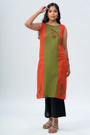 Maybell Musical instruments embroidered kurta -Olive green and mustard