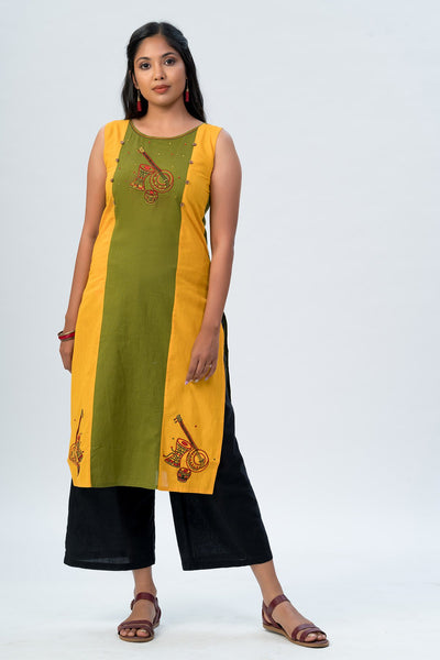 Maybell-Musical instruments embroidered kurta -Olive green and rust orange2