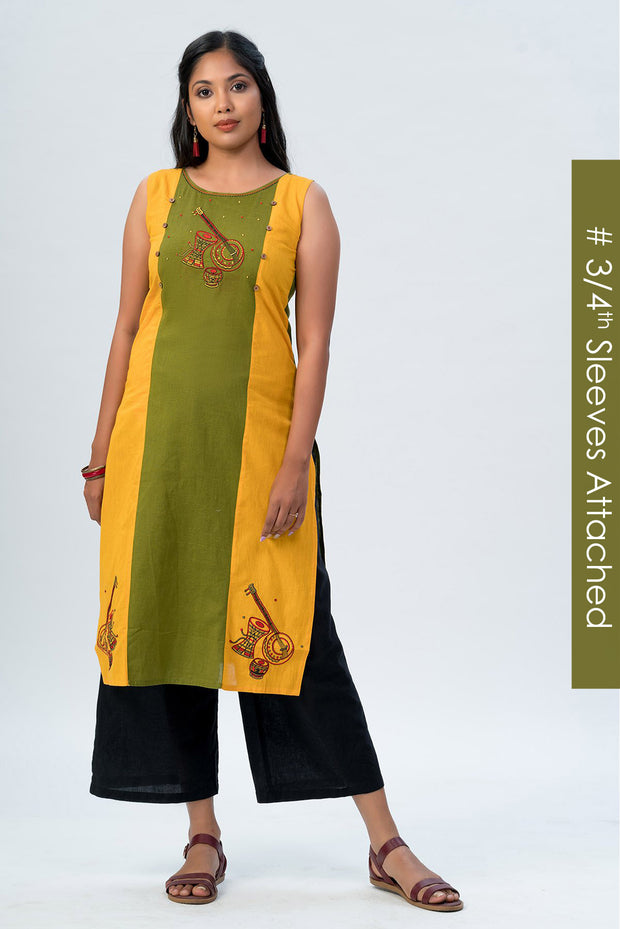 Maybell-Musical instruments embroidered kurta -Olive green and rust orange8