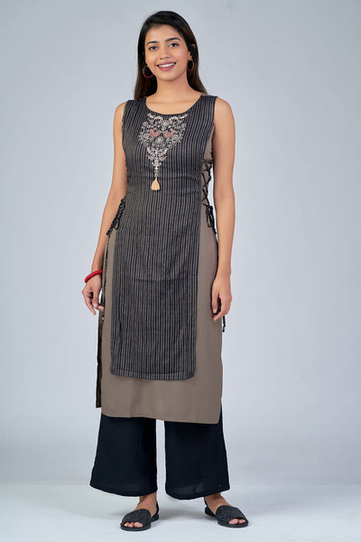 maybell-Scandinavian embroidered kurta - Grey3