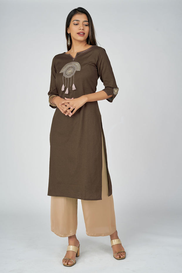 Mandala Embroidery Kurta - Dark Brown