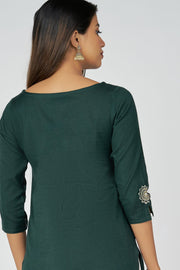 Mandala Embroidery Kurta - Dark Green