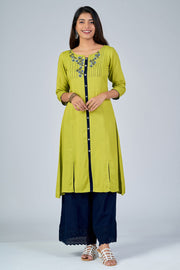 Maybell-Floral embroidered kurta - Green1