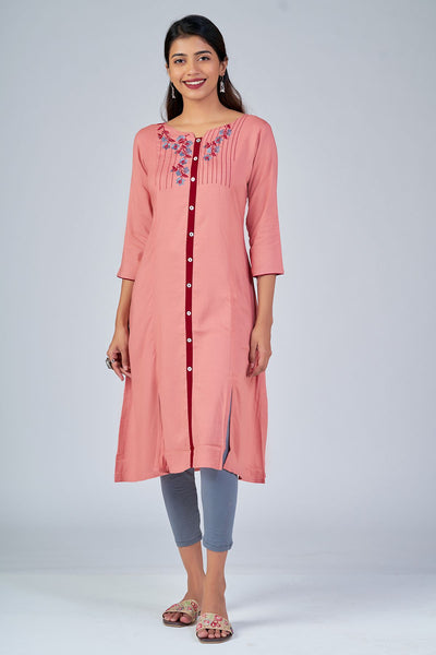 Maybell-Floral embroidered kurta - Peach3