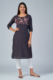 Maybell-Floral printed kurta -Grey