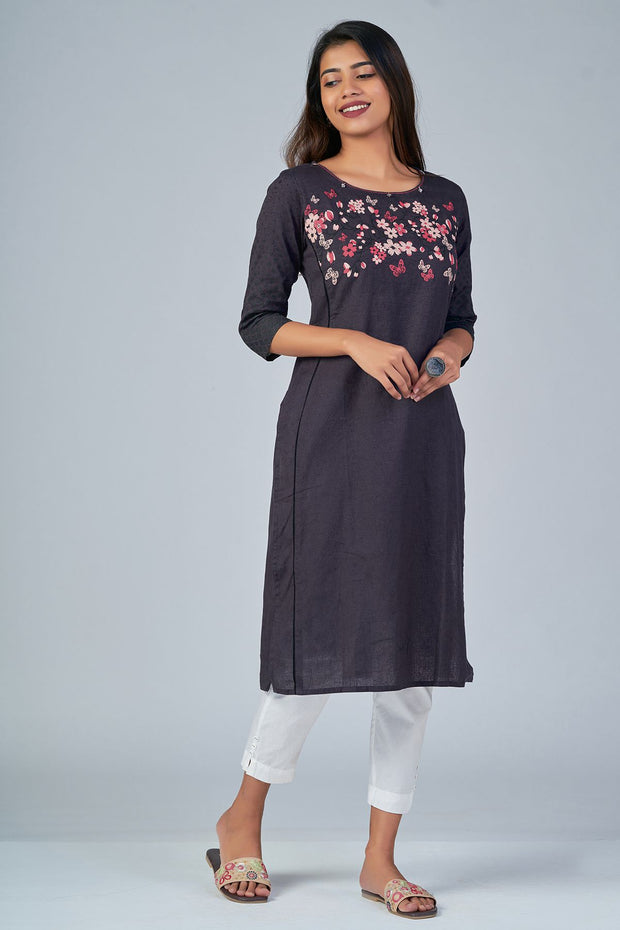 Maybell-Floral printed kurta -Grey2