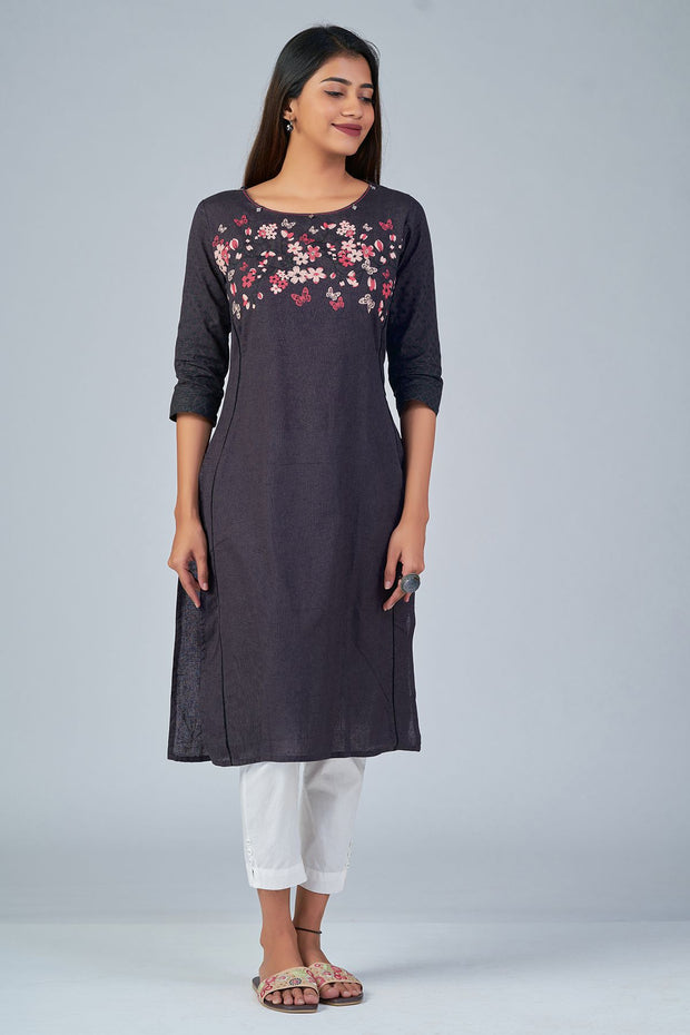 Maybell-Floral printed kurta -Grey3