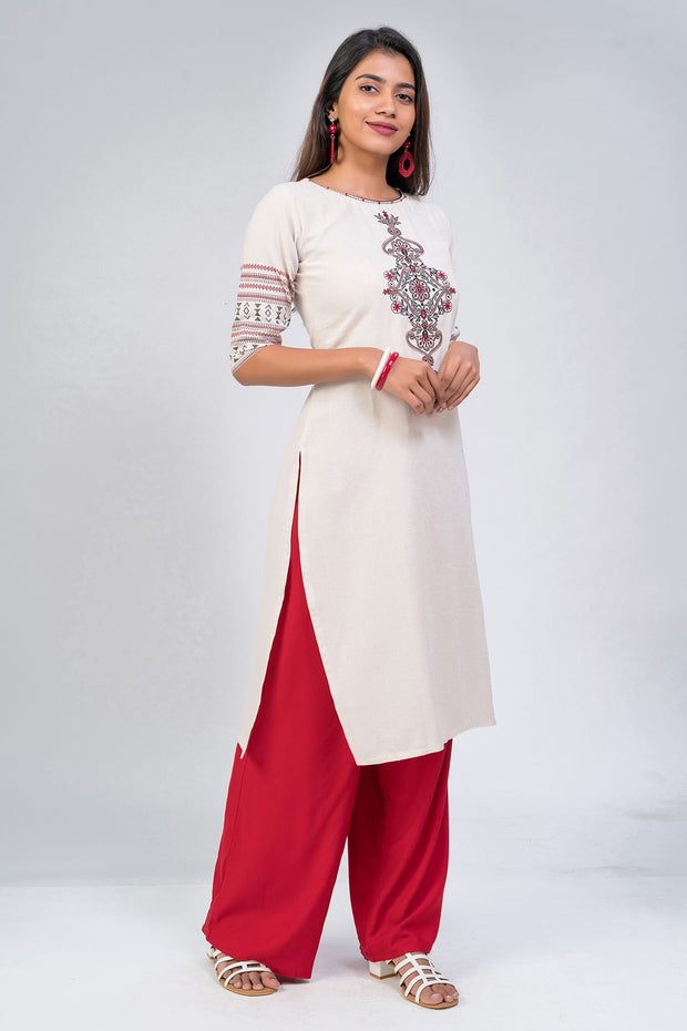 Maybell-Floral embroidered kurta - Beige4