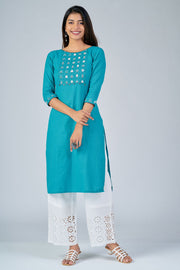 Maybell-Floral embroidered kurta - Blue2