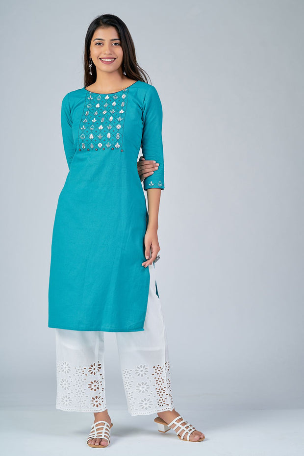 Maybell-Floral embroidered kurta - Blue3