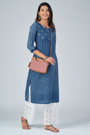 Maybell-All Over printed kurta with mirror embroidery -Indigo3