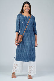 Maybell-All Over printed kurta with mirror embroidery -Indigo4