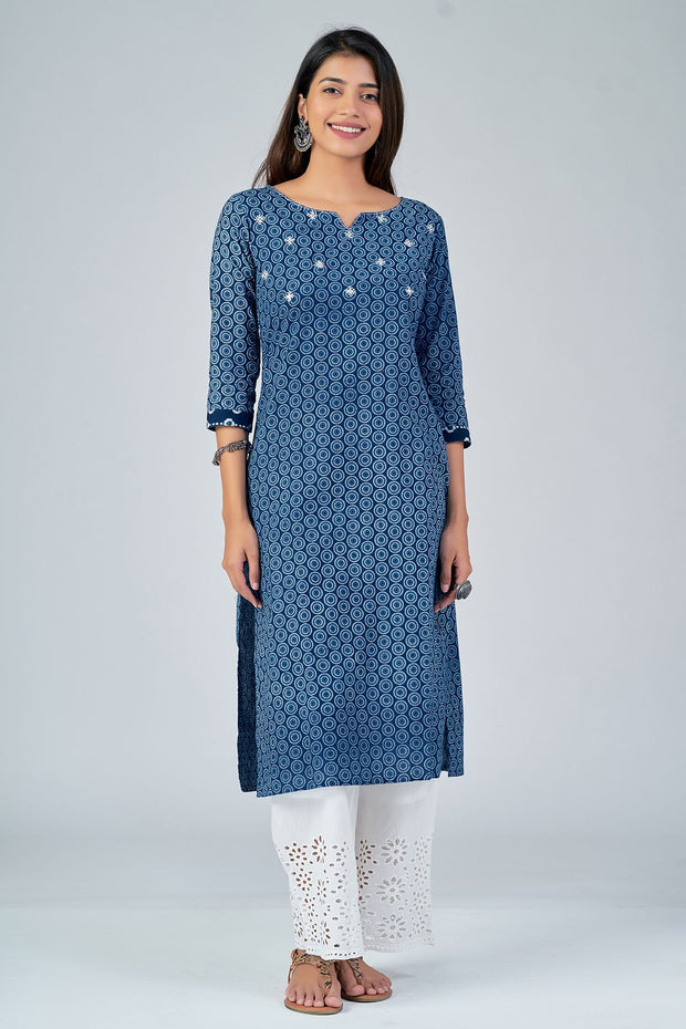 Maybell-All Over printed kurta with mirror embroidery -Indigo1