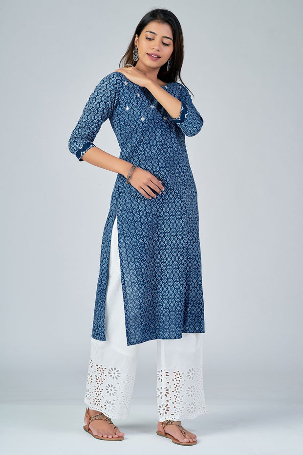 Maybell-All Over printed kurta with mirror embroidery -Indigo2
