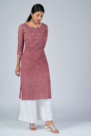 Maybell-All Over printed kurta with mirror embroidery -Rust2