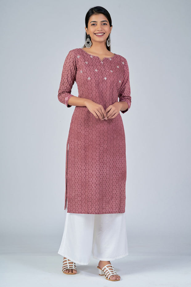 Maybell-All Over printed kurta with mirror embroidery -Rust3