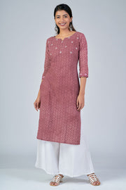 Maybell-All Over printed kurta with mirror embroidery -Rust