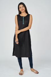 Aztec printed kurta with overcoat - Black